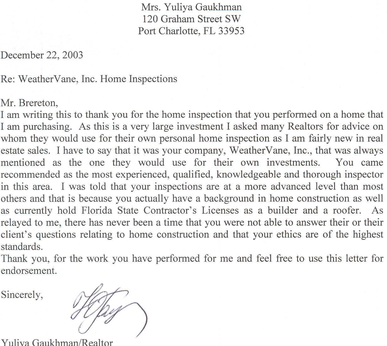 real estate thank you letters 10 free word excel pdf format